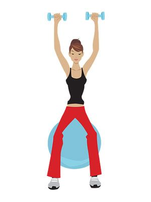 3- İki tane 2'şer kiloluk ağırlık veya içi su dolu pet şişe edinin.  Büyük pilates topuna veya  sandalyeye oturur gibi yapıp, hemen kalkın. Hareketi  mümkün olduğunca hızlı tekrarlamaya çalışın. En az 30 kez yapmadan bırakmayın.